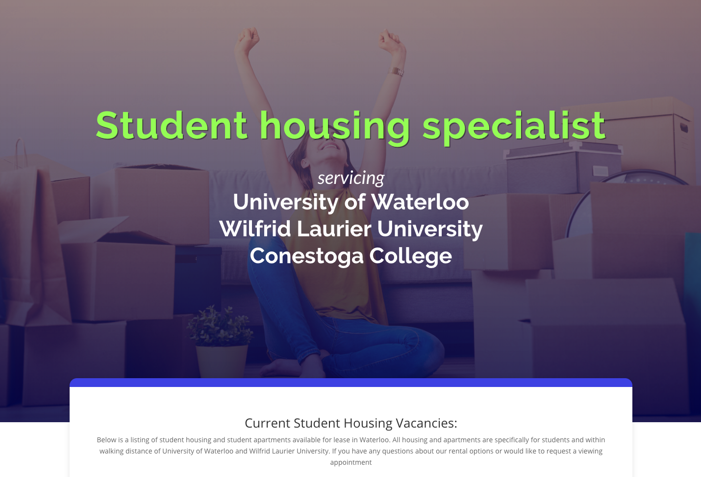 Student houseing near the universities as well as local co-op employers